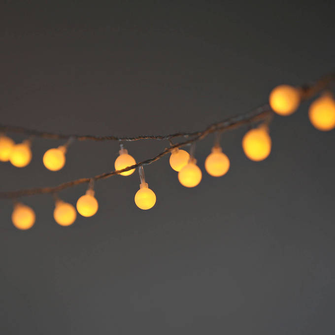 Frosted Warm White Globe Battery String Lights with Timer, Strand of 100