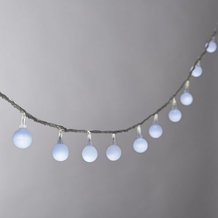 Frosted Cool White Mini Globe Battery String Lights with Timer, Strand of 100