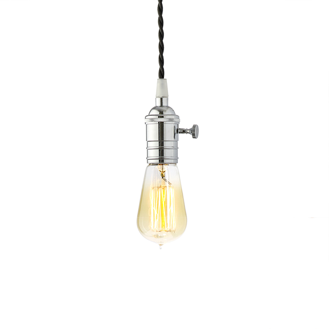 Polished Chrome Tillary Single Socket Pendant with Vintage Bulb, Black