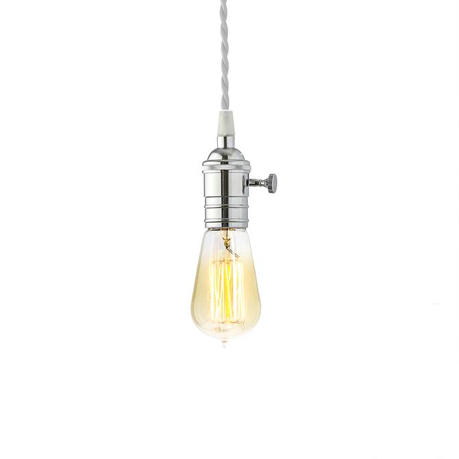 Polished Chrome Tillary Single Socket Pendant with Vintage Bulb, White