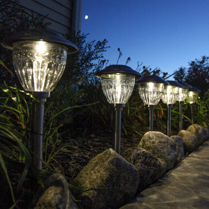 Marion Stainless Steel Warm-White Solar Path Lights, Set of 6