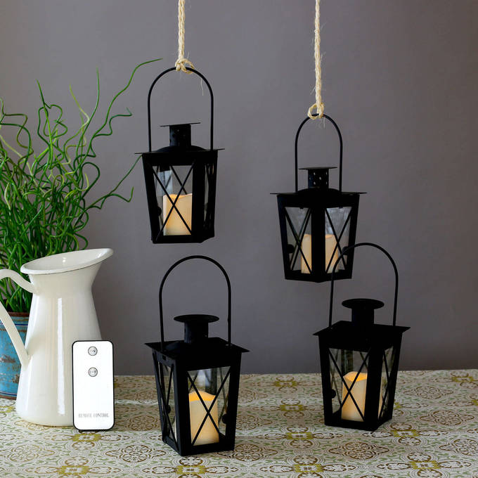 Matte Black Mini Crossbar Lanterns with Votives and Remote, Set of 4