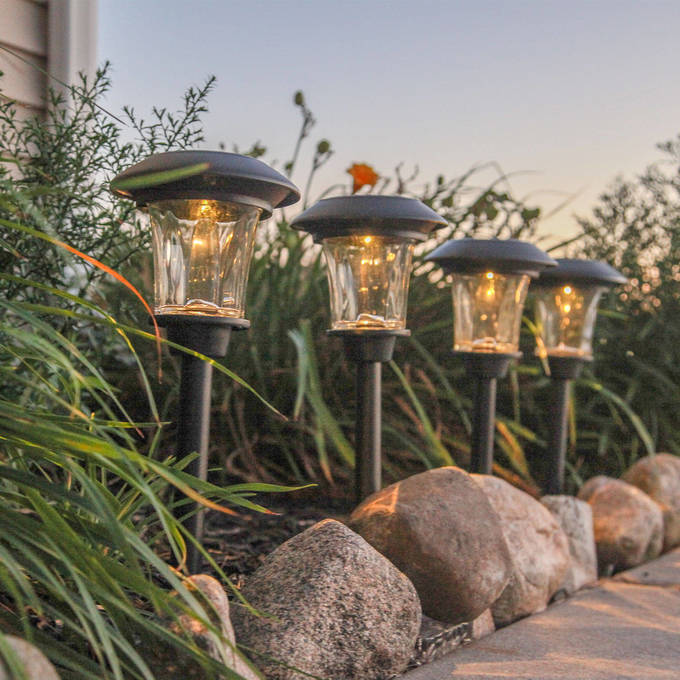 Heavy Duty Black Solar Path Lights, Set of 4