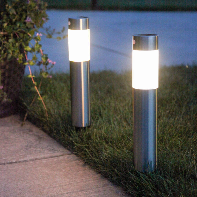 Frosted Warm White Stainless Steel Solar Garden Columns, Set of 2