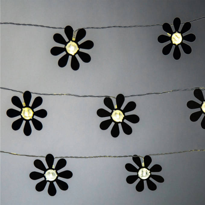 Black Daisy 10 LED Battery Operated String Lights, Set of 3