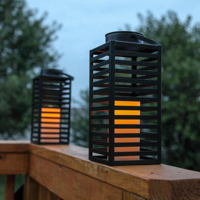 "Black Metal Slat 12"" Warm White Flameless Lantern with Timer, Set of 2"
