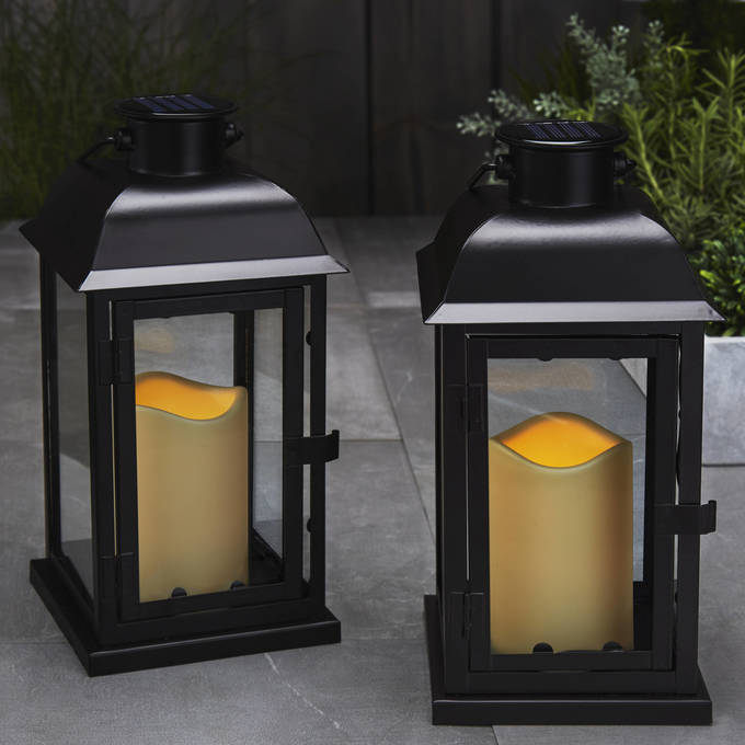 Solar lanterns outdoor lighting lights solar 115 black metal flameless lantern aloadofball Images