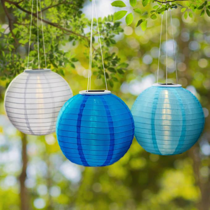 """Coastal Blues 12"""" Solar Lanterns, Set of 3"""