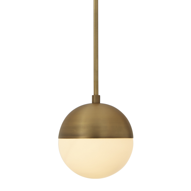 Powell Pendant with Hooded White Globe, Bronze