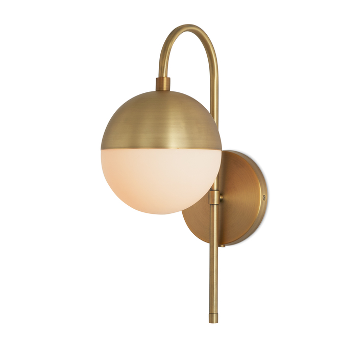 Led wall lights eco friendly sconces vanity lighting lights powell led wall sconce with hooded white globe aged brass aloadofball Choice Image
