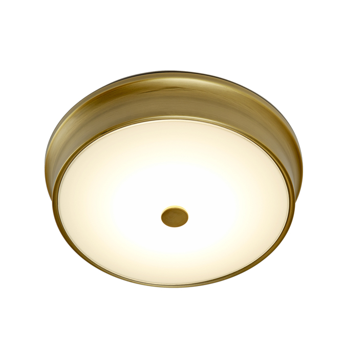 "Abbey 11"" LED Flush Mount, Aged Brass"