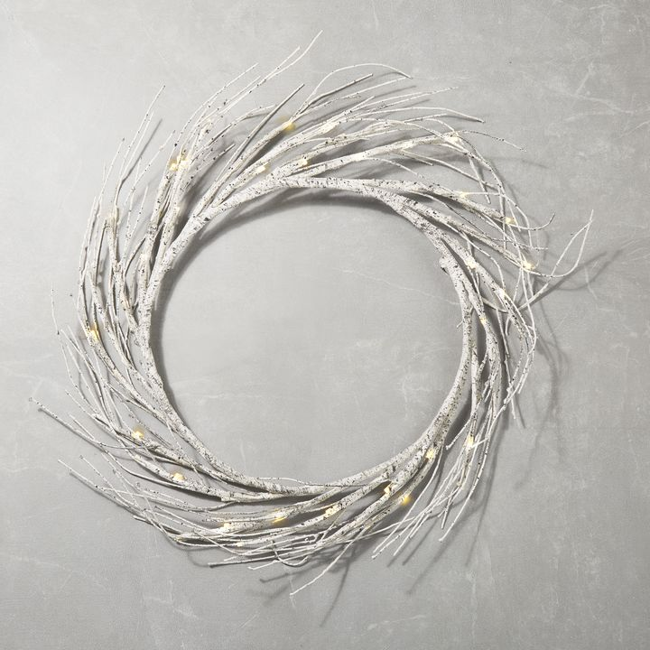 60 LED Warm White LED Birch Style Wreath