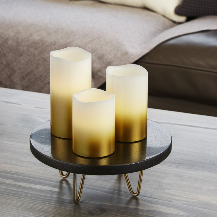 Gold Ombre Pillar Candles, Set of 3