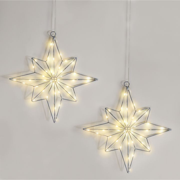 40 LED Medium Wire Star, Set of 2