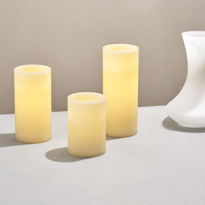 Touchstone Ivory Flat-Top Flameless Pillar Candles, Set of 3