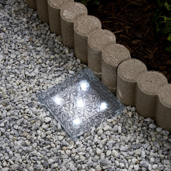 "Iced 6x6"" Solar Brick Light, Cool White"