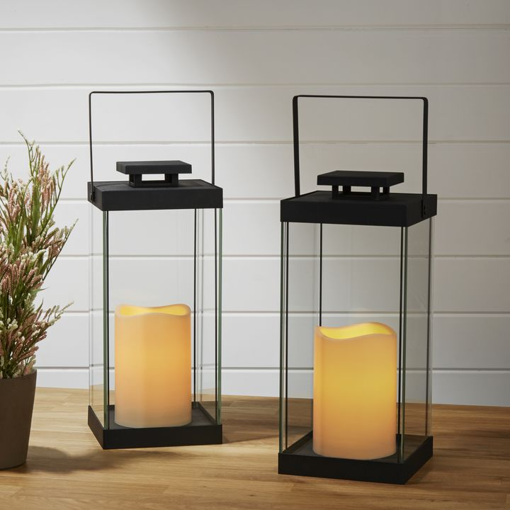 wythe black glass lantern with flameless candle set of 2