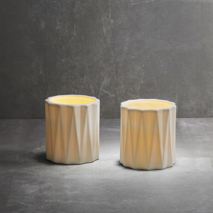 Verve Matte White Flameless Candle, Set of 2
