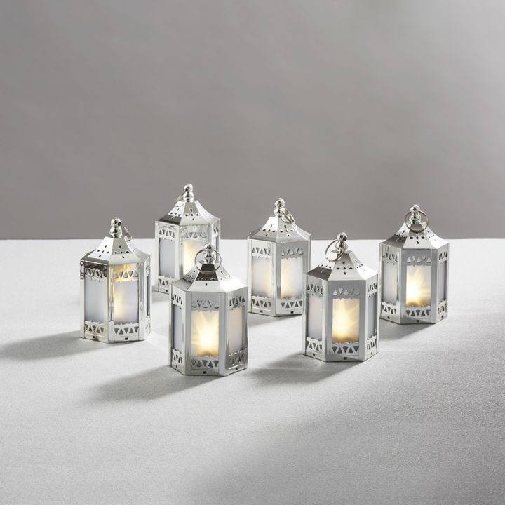 Anthea Silver Mini Holographic Stars Lanterns, Set of 6