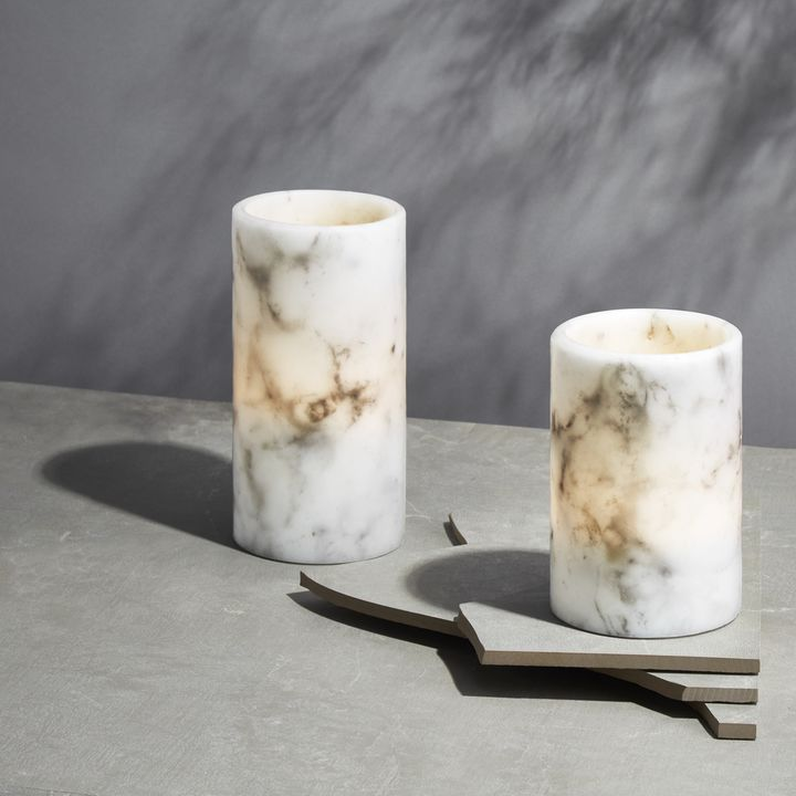 Vena Marble Pillar Candles, Set of 2