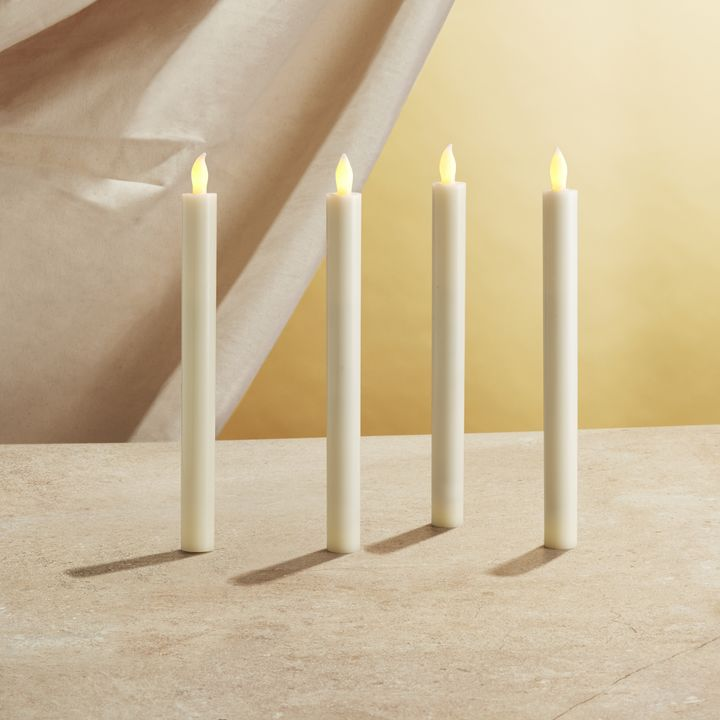 "Victoria Ivory 10"" Flameless Taper Candles, Set of 4"