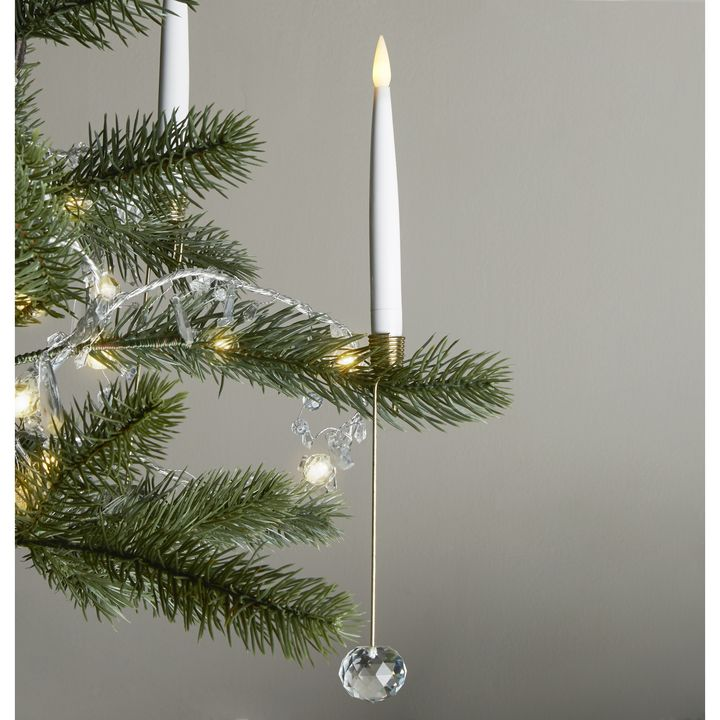Noelle Flameless Taper Candles and Christmas Tree Candleholders, Set of 8