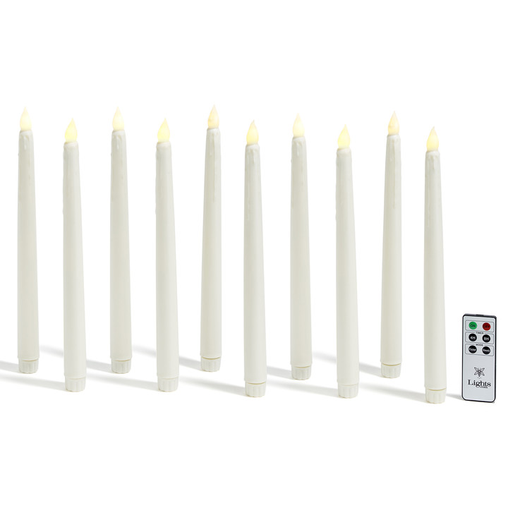 "Classic Ivory 10"" Drip Wax Flameless Taper Candles, Set of 10"