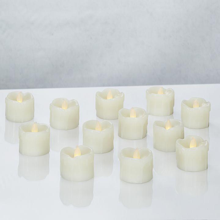 Cora Ivory Drip Wax Flameless Petite Votives, Set of 12