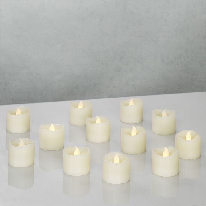 Cora Ivory Wax Flameless Petite Votives, Set of 12