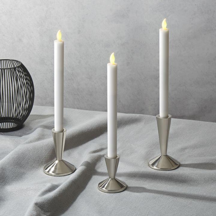 Odilon Silver Taper Candle Holder, Large