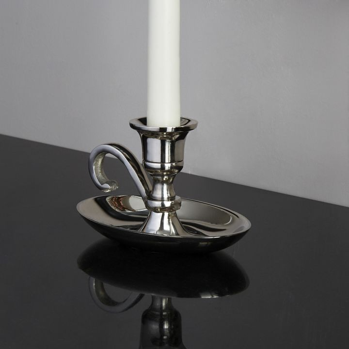 Emory Silver Taper Candle Holder