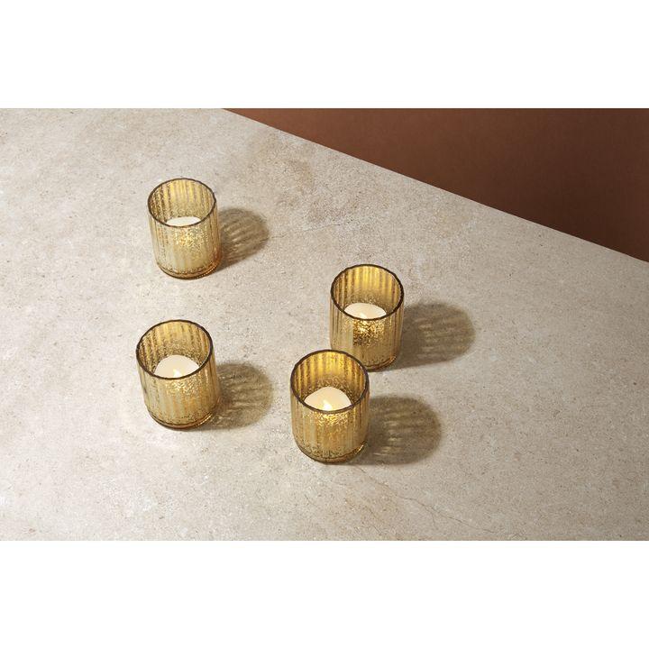 Gold Mercury Glass Tea Light Candle Holder, Set of 4