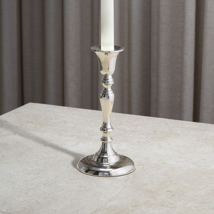 Glaston Silver Taper Candle Holder