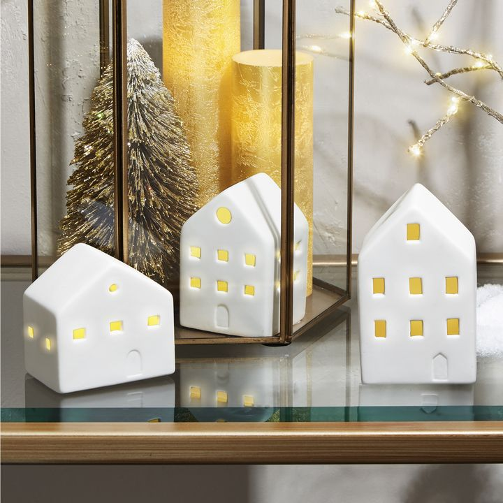 Winter White Illuminated Porcelain Village, Set of 3
