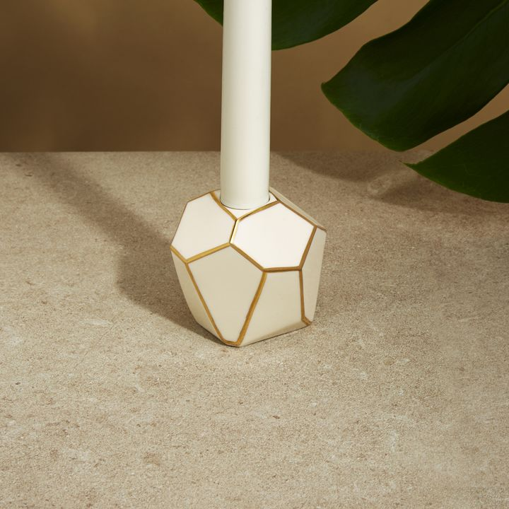 Geodesic Ivory and Gold Porcelain Candle Holder