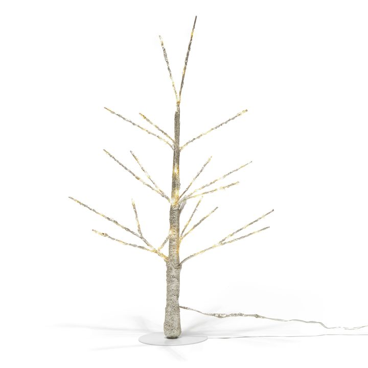 """Glittering LED-Wrapped Wintry Tree, 18"""""""