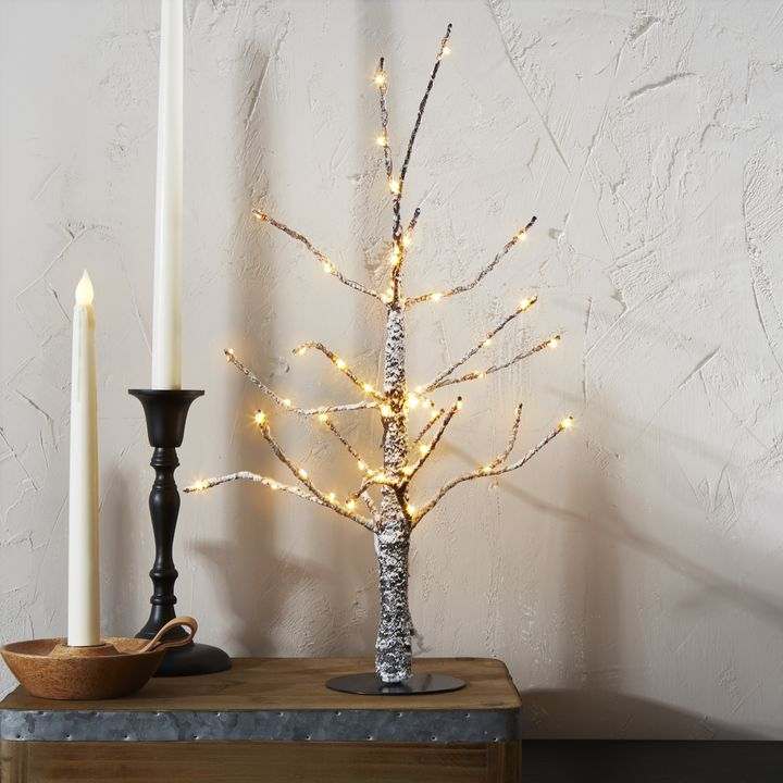 """Frosted LED-Wrapped Wintry Tree, 18"""""""