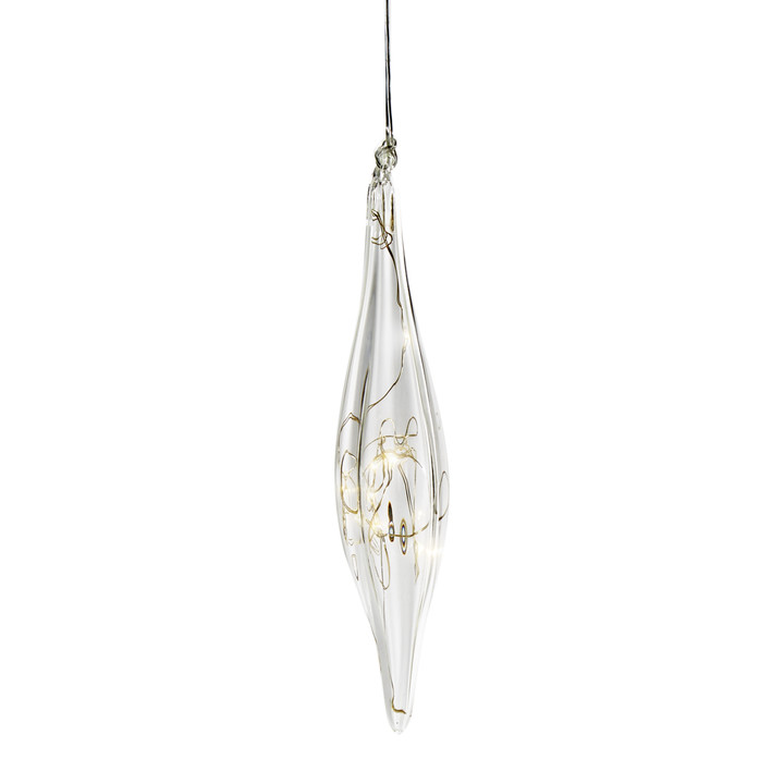 Pointed Finial Glass Ornament with Silver Fairy Lights