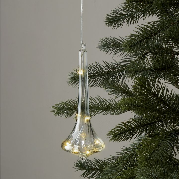 Elongated Finial Glass Ornament with Silver Fairy Lights