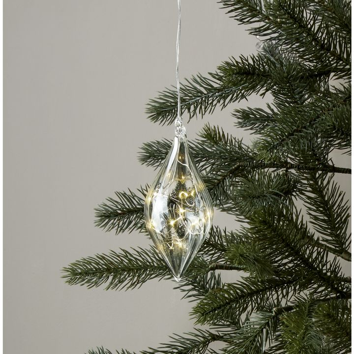 Rounded Finial Glass Ornament with Silver Fairy Lights