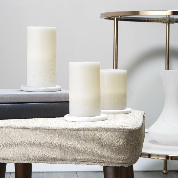 Milos White-Washed Ivory Pillar Candles, Set of 3