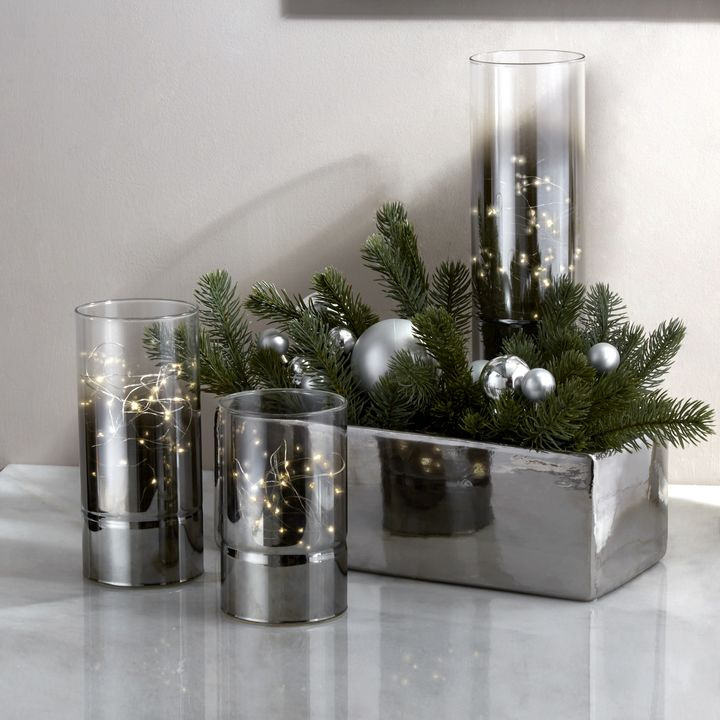 Ombre Smoke Glass Hurricanes with Fairy Lights, Set of 3