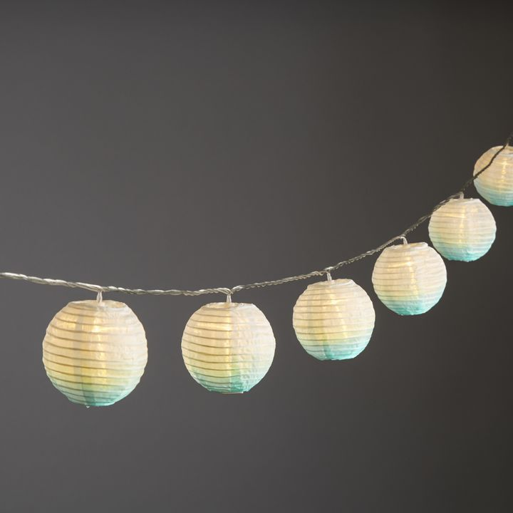 "Ara Seafoam Ombre 3"" Lantern String Lights, Strand of 10"