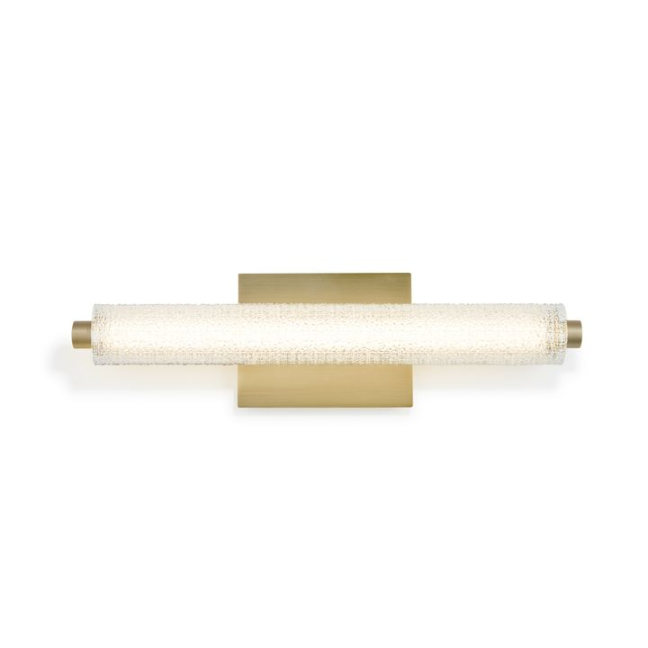 "Ronan 20"" Textured Glass LED Vanity Light, Aged Brass"