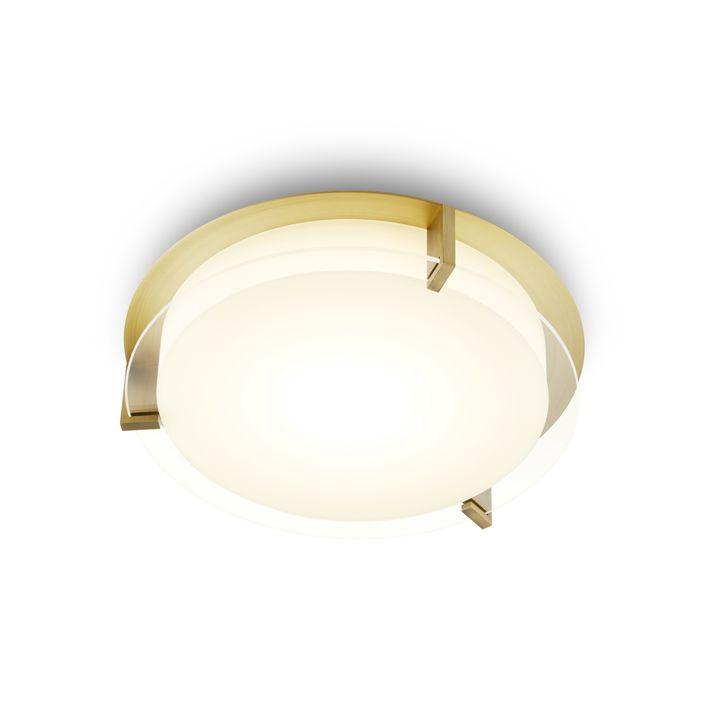 "Atlas 12"" Round LED Flush Mount, Aged Brass"