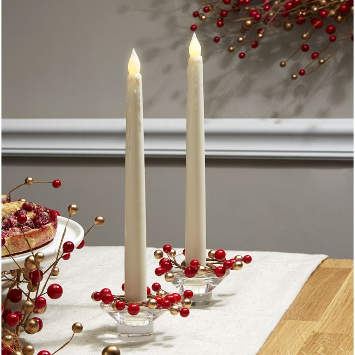 Holiday Berry Taper Candle Ring, Set of 4