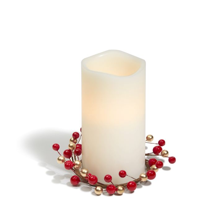 Holiday Berry Pillar Candle Ring, Set of 3