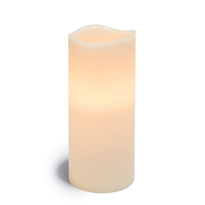 """Signature White 4x10"""" Melted-Edge Wax Pillar Candle"""