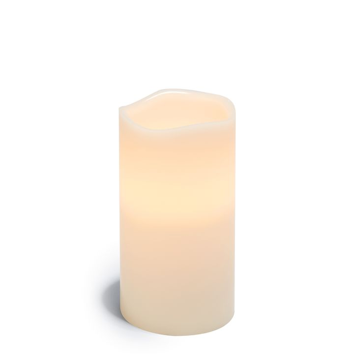"""Signature White 4x8"""" Melted-Edge Wax Pillar Candle"""