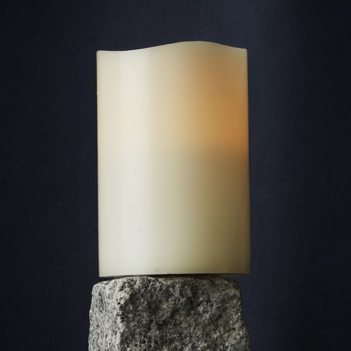 "Signature White 4x6"" Melted-Edge Wax Pillar Candle"